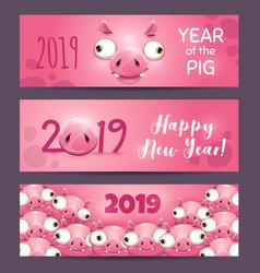 2019 year pig funny pink horizontal new vector image