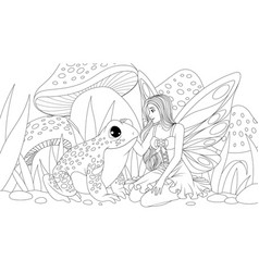 a beautiful fairy stroking a vector image