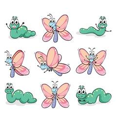 A caterpillar and butterfly vector