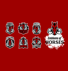 a collection colorful emblems logos horse vector image