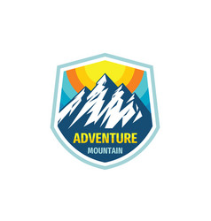 adventure mountain - concept badge design vector image
