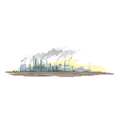 Air pollution from industrial plant vector