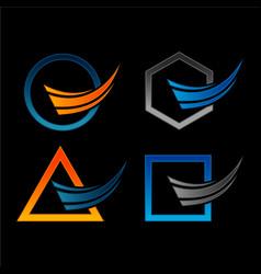 Airplane logo latter a around icon set vector