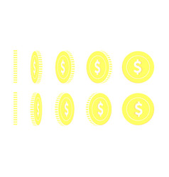 American dollar rotating coins set animation read vector