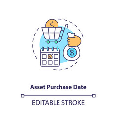 Asset purchase date concept icon vector
