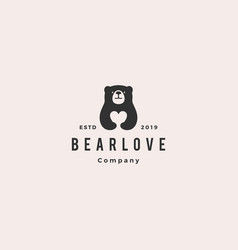 bear love logo hipster retro vintage icon vector image