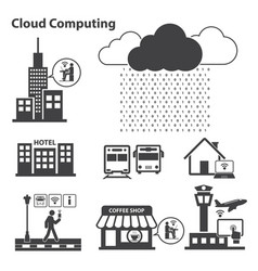Big data icons set cloud computing vector