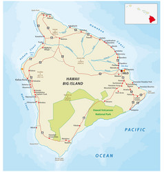 big island road map hawaii vector image