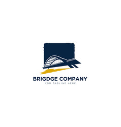 Bridge company logo designs with river for arch vector