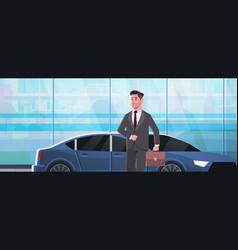 Businessman standing near luxury car man in suit vector