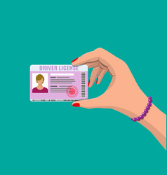 car driver woman license in hand vector image