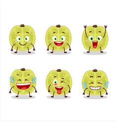 Cartoon character slice amla with smile expression vector