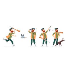cartoon hunters hunter with dog guns vector image