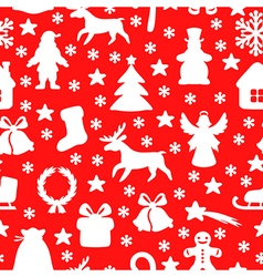 christmas seamless red vector image