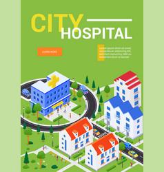 city hospital - modern colorful isometric web vector image