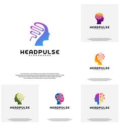 Collection head pulse logo head intelligence vector