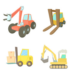contruction vehicle icon set cartoon style vector image