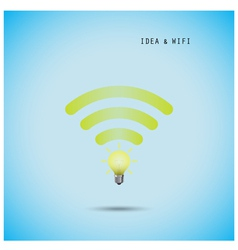 Creative light bulb concept and wifi sign vector image