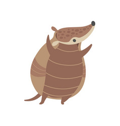 cute happy armadillo pleistocene animal cartoon vector image