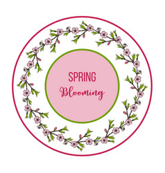 decorative spring wreath peach blossoms vector image