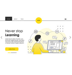 distant e-learning educational platform concept vector image