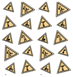 Doodle triangle caution emblem to industry vector