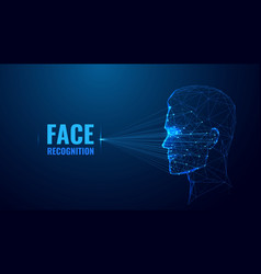 Face recognition low poly banner template vector