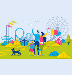 family walking by amusement park urban landscape vector image