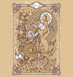 Fantasy zodiac sign capricorn in gothic frame vector