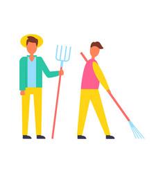 Farmer with hayfork and rake vector