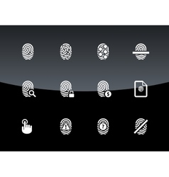Finger scanner icons on black background vector image