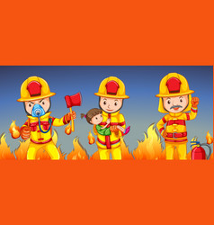 firefighter helping a girl vector image