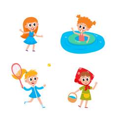 flat summer camp kids activity set vector image