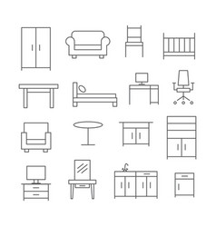 furniture line icons vector image