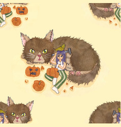 Girl carving pumpkin with cat and bird background vector