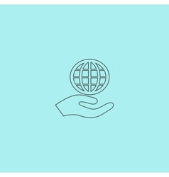 Globe icon with hand vector image