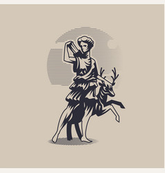 Goddess artemis or diana vector