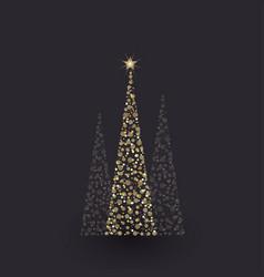 golden christmas tree vector image