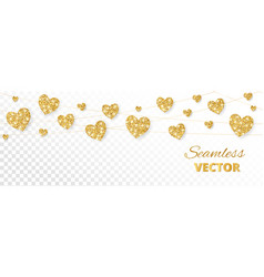 Golden hearts frame seamless border vector