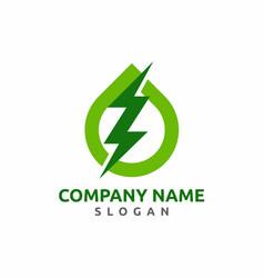 Green power energy logo design vector