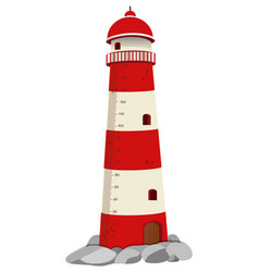 Growth mearsuring chart with lighthouse on rock vector