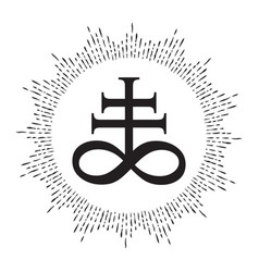 Hand drawn leviathan cross alchemical symbol vector