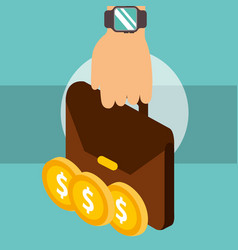 hand holding business briefcase coins dollar money vector image