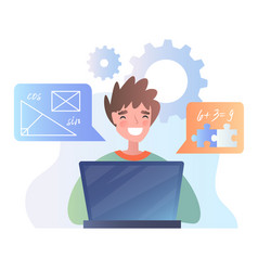 happy young boy studying mathematics online vector image