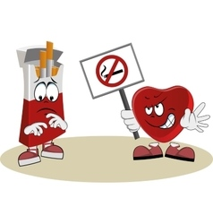 Heart protests against smoking vector
