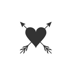 heart with arrow icon isolated happy valentine s vector image