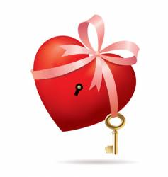 Heart with key vector
