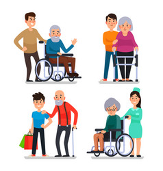 Help old disabled people social worker of vector