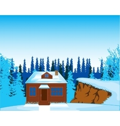 House in wood in winter vector