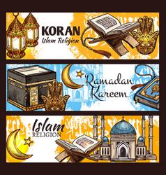 Islam ramadan lantern muslim mosque and koran vector